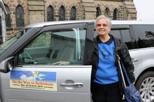 Director Andrea Rowbottom promotes the annual pageant On the Way to Bethlehem by displaying its motif on her vehicle throughout the whole year. Photo: Hollis Hiscock
