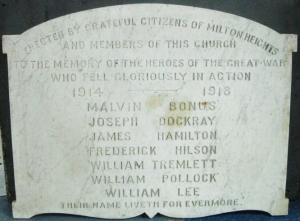 The honour roll that was in All Saints' Church, milton Heights. photo: Richard E. Ruggle