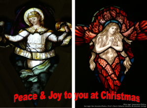Electronic greeting card with two angels, details from Christ's Church Cathedral windows.