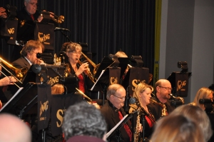 Caption: Chris Snow (far right) played saxophone in the full Milton Concert Band and the MCB Show Band. Photo: Joy Castello