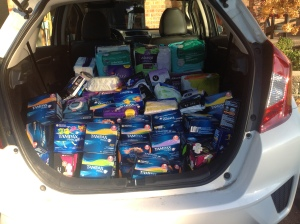 When people heard unmentionables mentioned, they responded resoundingly and filled a car trunk with feminine hygiene and adult incontinence products.Photo: Linda Shakespeare