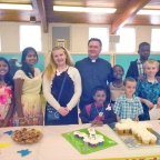 Young people receive first communion
