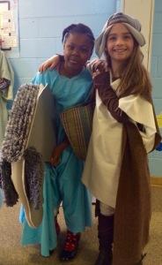 Xmas P2 Teri Elizabeth as Mary. Morgan as Joseph.