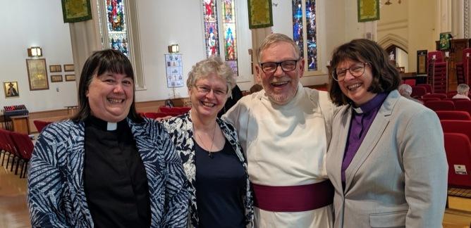 General Synod Prolocutor Canon Karen Egan (Montreal), Former Prolocutor Cynthia Haines-Turner (Eastern Newfoundland), Former Deputy-Prolocutor Dean Peter Wall, Former Deputy Prolocutor Bishop Lynne McNaughton (Kootenay)