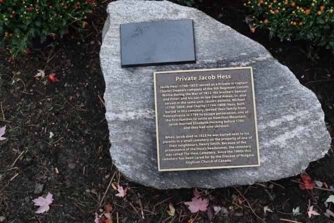 Jacob Hess memorial stone